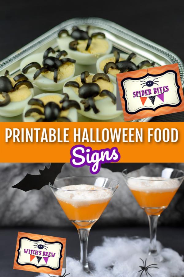 Printable Halloween Food Signs